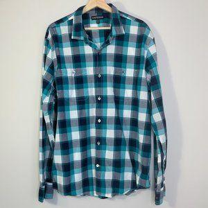 Express Mens White Blue & Teal Two Pocket LS Shirt